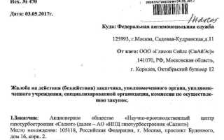 Образец жалобы в ФАС на действия заказчика по 44-ФЗ